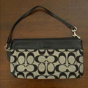 coach signature wristlet wallet with leather blue